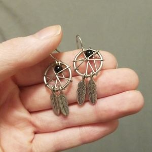 Silver and black dangle dream catcher earrings